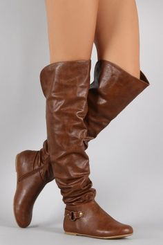 Shop Bamboo O-Ring Cuff Slouchy Over-The-Knee Boots. These boots feature a rounded toe, o-ring strap detail, back slit, and low heel. Mid Calf Boots, Thigh High Boots, Over The Knee Boots, Slouchy Boots, Stylish Boots, Fancy Shoes, Comfortable Heels, Sneaker Boots, Suede Booties