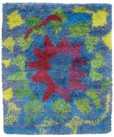"""MATTA. """"ILLUSION"""". Rya. 150 x 121 cm. Komponerad av Viola Gråsten. Baksidan med påsydd etikett: """"ILLUSION"""" NK TEXTILKAMMARE VIOLA GRÅSTEN. Sverige 1950-60-tal."""