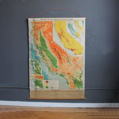 Large 1950s School Pull Down Map of California - 5 Feet Tall