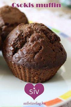 Csokis muffin - Egyszerű és finom csokis muffin. Egészséges recept finomliszt és fehér cukor nélkül! Cukor, Muffin, Food And Drink, Breakfast, Health, Recipes, Ideas, Morning Coffee, Health Care