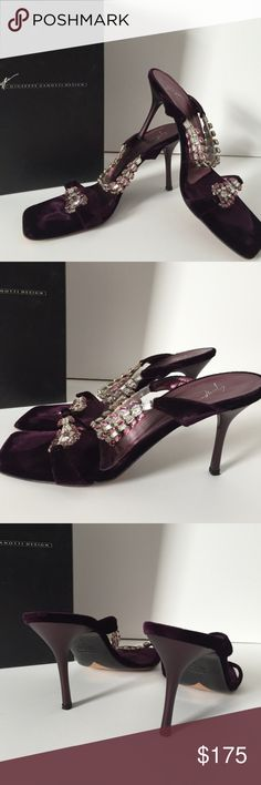 Giuseppe Zanotti Velvet Rhinestone Heels Slides The Giuseppe Zanotti Crystal-Embellished Purple Velvet Mule sandals feature leather lining, suede upper. The Giuseppe Zanotti shoes in deep purple are jeweled in Swarovski crystals. Double strap slide sandal are perfect for the holidays. Brand: Giuseppe Zanotti. Style: sandals. The Giuseppe Zanotti shoes are made from leather and velvet. In good condition, see photos. Comes with shoe box. Some light wear and small minor marks. Bottoms have some…