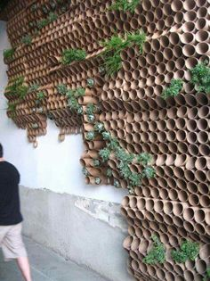Surfacedesign, Inc.'s cardboard wall - cardboard installation for journey forth dekor fenster Museum of Craft and Design opens pop-up location Garden Wall Designs, Garden Design, House Design, Diy Garden, Garden Art, Garden Crafts, Walled Garden, Cardboard Tubes, Cardboard Crafts