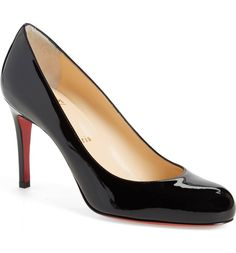 """Christian Louboutin Simple Pump  Sleek curves define a classic round-toe pump available in both lush suede and liquid-shine patent. Christian Louboutin's iconic red sole flashes with each step, providing self-assured glamour that speaks volumes without saying a word. 3 1/4"""" (82mm) heel (size 38.5). 85mm pitch. Please note that the red lacquer on the soles will wear off as a result of normal use. To minimize the effect, avoid wearing these shoes in wet weather or on abrasive surfaces. Leather"""