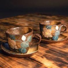九谷焼 ペア コーヒーカップ&ソーサー 銀山茶花 kutaniyaki