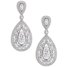 Adriana Orsini Pave Crystal Small Pear Drop Earrings/Silvertone ($105) ❤ liked on Polyvore featuring jewelry, earrings, brinco, apparel & accessories, silver, filigree jewelry, earring jewelry, filigree earrings, crystal drop earrings and post back earring