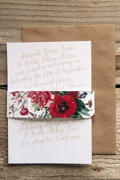 The Calligraphic Slant is a simple invite that lends itself perfectly to accessories such as a belly band and kraft envelope.