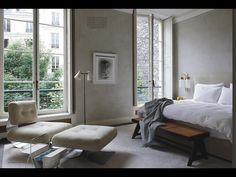 Minimalist bedroom - love wall colour plus framed photo