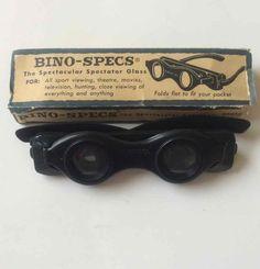 Bino-Specs Folding Spectator Glasses Vtg Binoculars Magnifying Black Steampunk #BinoSpecs #Steampunk