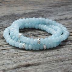 September Birthstone Gift For Her Aquamarine Bracelet Calming Good Luck 5mm Genuine Faceted Sapphire Bracelet Balance Bracelet