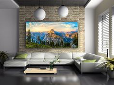 Giant Yosemite National Park Panorama Canvas, California Sunset, Large Mountain Wall Decor, Landscape Print, Dreamy Clouds, Sierra Nevada