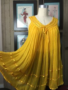 1970s blouse yellow tunic size medium gauze top gypsy blouse sleeveless blouse Vintage tunic top ribbon blouse boho blouse by melsvanity on Etsy