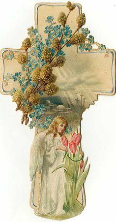 Victorian Die Cut Scrap .... EASTER Cross With Angel.