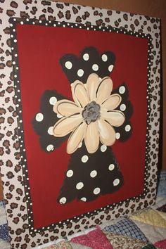 Hand Painted Cross on 16x20 canvas   wall art wall hanging polka dots cheetah print. $45.00, via Etsy.