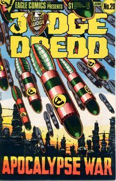"Judge Dredd, US reprint, issue (the most epic Dredd series--IMHO--""The Apocalypse War""; it was even made into a BBC radio drama! Comic Book Covers, Comic Book Heroes, Comic Books, Bbc Radio Drama, Judge Dredd Comic, Judge Dread, Abc Warriors, Sci Fi Comics, Classic Comics"
