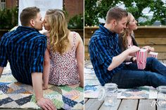 Calgary Engagement Photography Katherine & Tyler - a rooftop movie engagement session | Tara Whittaker Photography