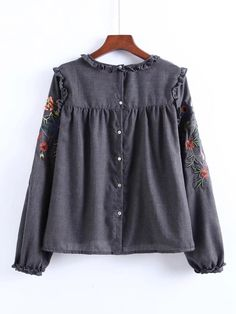Shop Frill Detail Embroidery Blouse at ROMWE, discover more fashion styles online. Ruffle Collar Blouse, Embroidered Blouse, Grey Blouse, Floral Blouse, Floral Tops, Blouse Patterns, Blouse Designs, Blouse En Lin, Casual Dresses
