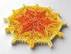 Snowflake Yellow Orange Christmas Tree Decoration Winter Ornaments Gifts Toppers Fillers Office Corporate Paper Quilling Quilled Art This is a unique handmade quilled snowflake! Amazing Christmas gift for Your loved ones and suitable for all winter occasions. You can hang it on