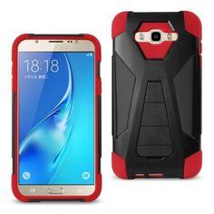 Reiko Samsung Galaxy J7(2016)/Galaxy 7 Hybrid Heavy Duty Case Red Black With Kickstand