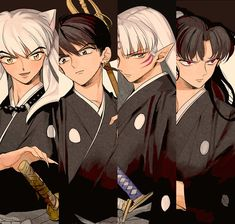 Inuyasha, Miroku, Sesshomaru, Naraku they kinda look like they are wearing squad uniforms from bleach.