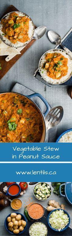 Vegetable Lentil Stew in Peanut Sauce | One-Pot Wonder | lentils.ca // gluten-free, vegan