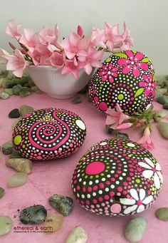 Natural Home Decor - Rock Art - Hand Painted Stones - ethereal & earth - other worldly & of this world creations - pink persuasion collection Trio #26 - $26 - FREE Shipping in the USA!