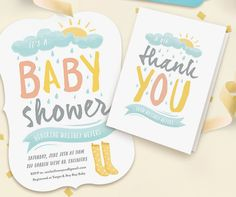 Sunshine, rainboots and showers theme for gender neutral baby shower