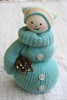 Here's another totally cute snowman craft. We featured a snowman made from a sock previously and it was one of our most popular of all time crafts. I wonder if this mitten idea will be just as popular? I think this is a great idea and I love how. Sock Snowman, Cute Snowman, Snowman Crafts, Christmas Projects, Holiday Crafts, Snowmen, Christmas Snowman, Winter Christmas, Christmas Ornaments