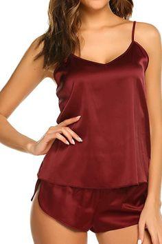 Sleepwear Sets, Sleepwear Women, Pajamas Women, Babydoll Lingerie, Lingerie Set, Satin Lingerie, Nightgown Pattern, Nightgowns For Women, Satin Pajamas