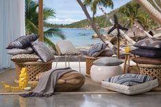 Edition 24 KAS Neutral Cushions Beach Color Schemes, Neutral Cushions, Outdoor Furniture, Outdoor Decor, Cover Photos, Hanging Chair, Hammock, New Homes, Table Decorations