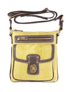 Bolsa feminina pequena em couro legítimo estampa lizard, com detalhes em couro liso contrastante.