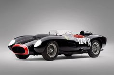 The 1957 Ferrari 250 TR is one of only 22 of the very rare racers built, with Speed Racer-esque pontoon fenders, black paint with white numbers and a black nose, red seats with white piping, a gated shifter, and racing heritage that includes a fourth place finish in the 1000 km Buenos Aires in January 1958. It's an absolute classic.