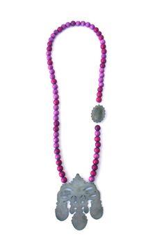 'Crown Jewels', necklace, 2013, zinc, steel, wood, silver. Made by Malou Paul. www.maloupaul.nl