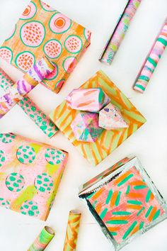 fun and bright gift wrapping ideas