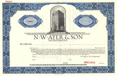 N. W. Ayer & Son was an advertising agency founded in Philadelphia, Pennsylvania in 1869. It called itself the oldest advertising agency in the United States. Named after Francis Ayer's father N. W. Ayer, it ventured into advertising in 1884. It created a number of memorable slogans for firms such as De Beers, AT&T and the U.S. Army. The company started to decline in the 1960s and, after a series of mergers, was closed in 2002 with its assetts sold to the Publicis Groupe.
