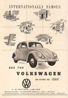 "AD83 Vintage Volkswagon Beetle Car Advertisment Poster Print A3 17""X12"" 