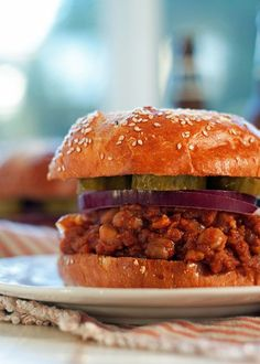 Slow Cooker BBQ Chickpea Vegan Sloppy Joes recipe - Tangy, hearty, and easy! Chickpeas and red lentils cook up thick and rich in a tomato-BBQ base. Vegan with gluten-free option.