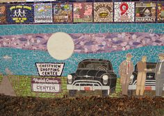 Detail of a gorgeous piece of community art seen in the Crestview neighborhood of Austin, Texas. I wonder if this mosaic was inspired by a historic photograph. Black Star, Shopping Center, Community Art, Brewery, The Neighbourhood, Nostalgia, Mosaic, Texas, Scene