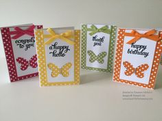 """Tin of Cards (sentiments), Subtles & Brights DSP, Butterflies Thinlits, 1/4"""" Cotton Ribbon (Melon Mambo, Pumpkin Pie, Daffodil Delight, Pear Pizazz), Whisper White Note Cards, Rhinestones,"""