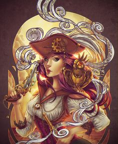 Illustration by Bea Gonzales steampunk pirate Pirate Queen, Pirate Art, Pirate Woman, Pirate Life, Lady Pirate, Pirate Skull, Pirate Steampunk, Steampunk City, Gothic Steampunk