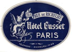 Luggage label, Paris hotel