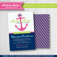 Anchors Away Baby Shower Theme - Nautical Baby Shower Ideas - Baby Shower Invitation | Pink, Navy, Lime Green Color Scheme