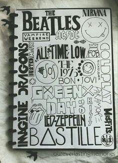 Resultado de imagen para cuadernos con dibujos de grupos musicales