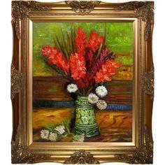 Vincent Van Gogh 'Vase with Gladioli' Hand Painted Framed Art
