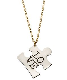 puzzle piece. All i need is paint, felt tip pens, and a chain for each necklace.    i think you could emboss a puzzle piece like a person, and if you had the tools just use them to imprint love.   I am going to have ot try this.