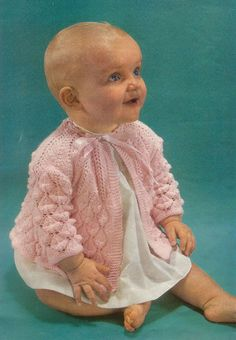 Knit Baby Matinee Coat Vintage Knitting Pattern 1-12 months Lacey cardigan angel top pinafore jumper sweater PDF Instant Download