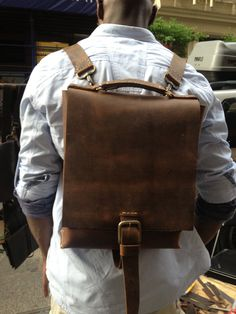 Muddled leather back pack handmade in New York by Aixa. $329.00, via Etsy.