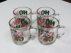 "4 Vtg Mickey Mouse Disney ""HO HO HO"" Christmas Clear Glass Mugs Anchor Hocking"