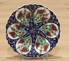 Turkish Traditional Hand made ,Hand Painted iznik Ceramic Floral Design Red Tulips Hanging Plates, Plates On Wall, Turkish Plates, Turkish Design, Shops, Red Tulips, Decorative Bowls, Charger, Floral Design