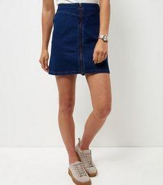 Blue Zip Front Denim Skirt  | New Look