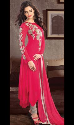 Fuchsia Georgette Embroidered Churidar Suit Price: Usa Dollar $202, British UK Pound £119, Euro148, Canada CA$215 , Indian Rs10908.